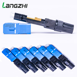 Sc upc fibra óptica conector rápido 100 sc rápido conector azul fibra ftth único modo sc conector rápido sc adaptador montagem de campo