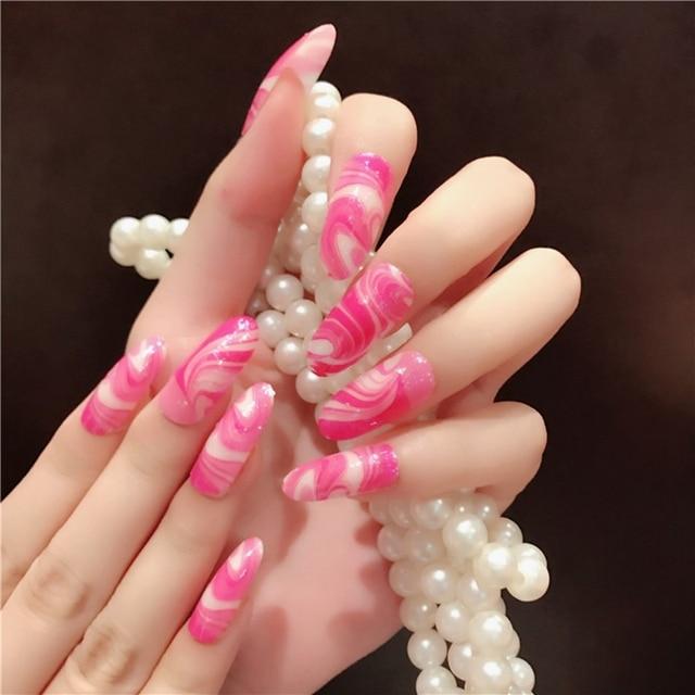 Elegant Hot Roze Fake Nail Design Tips Lange Maat Volledige Cover