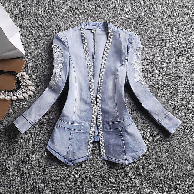 Calças de brim magros mulheres jaqueta casacos feminino magro rendas patchwork bordado denim jaquetas casaco senhora elegante vintage az760