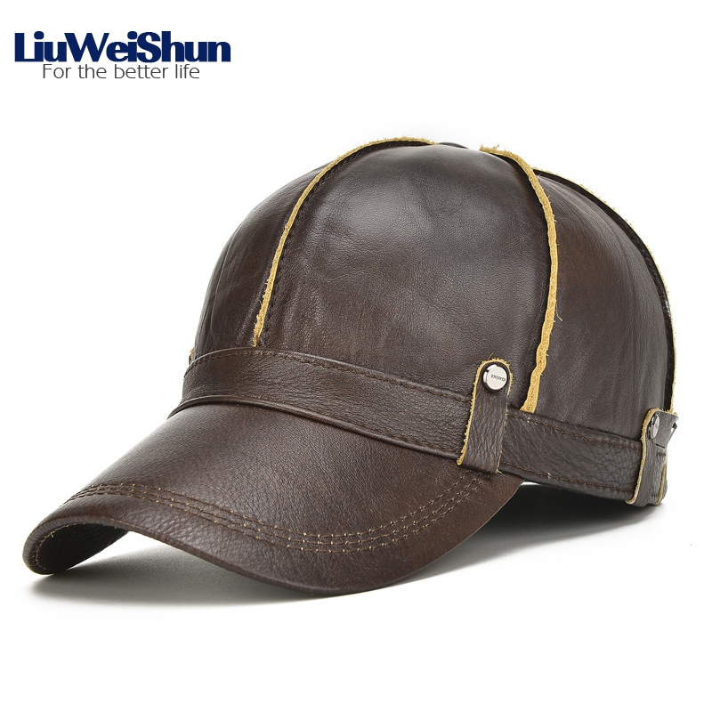 LiuWeiShun Top Grade Winter Cowhide Geniune Leather Baseball Cap Men with earflap Quality Cow skin Bomber Hat Outdoor Dad cap hot winter beanie knit crochet ski hat plicate baggy oversized slouch unisex cap