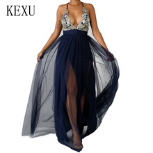KEXU Sexy Deep V Neck Sleeveless Mesh Maxi Dresses Elegant Open Back Hollow Out Summer Dress Women Party Robe Taille Femme цена и фото