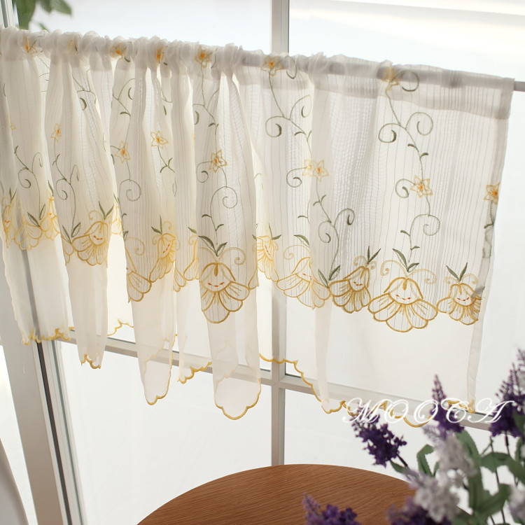 Flower Embroidered Short Kitchen Curtain Two Colors Pink And Yellow 45x150cm