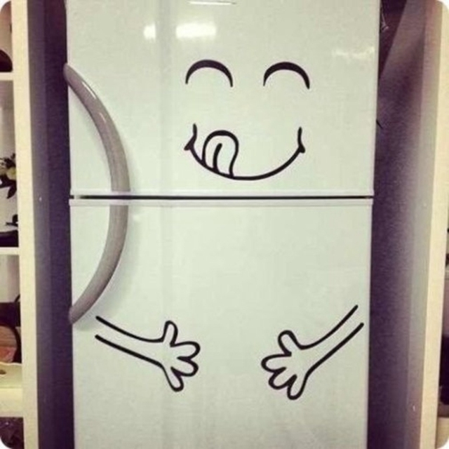 Cute Fridge Sticker Happy Yummy Face Kitchen Fridge Vinyl Wall Sticker Art  Refrigerator Wall Decals Home