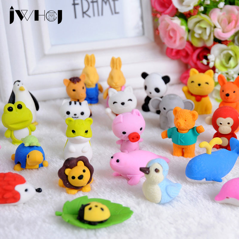1 X JWHCJ 24 design Cute Cartoon animal rubber eraser kawaii stationery school supplies papelaria gift toy for kids penil eraser