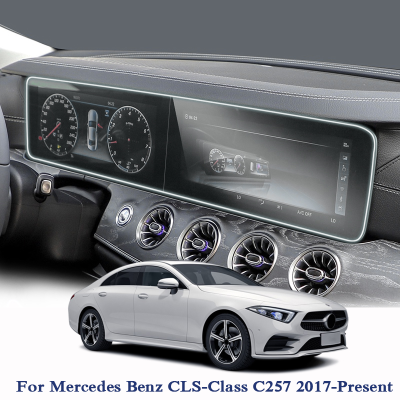2pcs For Mercedes Benz CLS-Class C257 2017-2019 Car Styling GPS Navigation Screen Glass Protective Film Dashboard Display Film