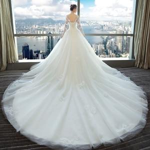 Image 4 - Fansmile 2020 Long Train Vestido De Noiva Lace Gowns Wedding Dresses Sleeve Custom made Plus Size Bridal Tulle Mariage FSM 540T