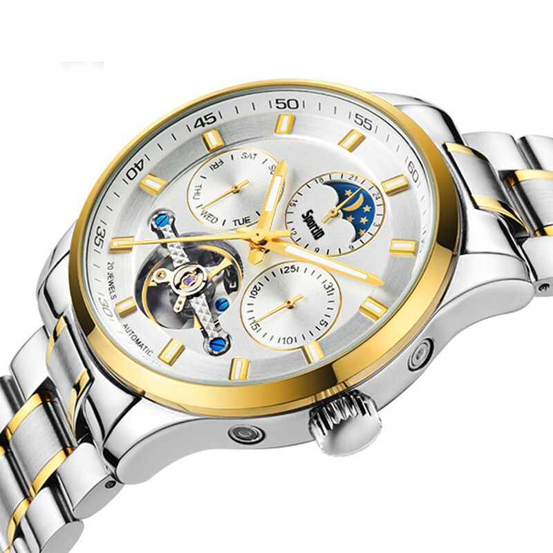 SportID Watch Men Waterproof Luxury Automatic Gold Stainless Steel Skeleton Tourbillon Mechanical Mens Brand  Fashion  Watches mens branded luxury fashion watch men automatic ultra thin gold full steel mesh watches men dress mechanical watch orologio uomo