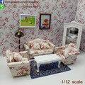 Set/3 Miniaturas de casa de Muñecas Casa de Muñecas Hitchcock Impresión Tulip Sillón Sofá Muebles De Muñeca De Madera sala de casa de Muñecas