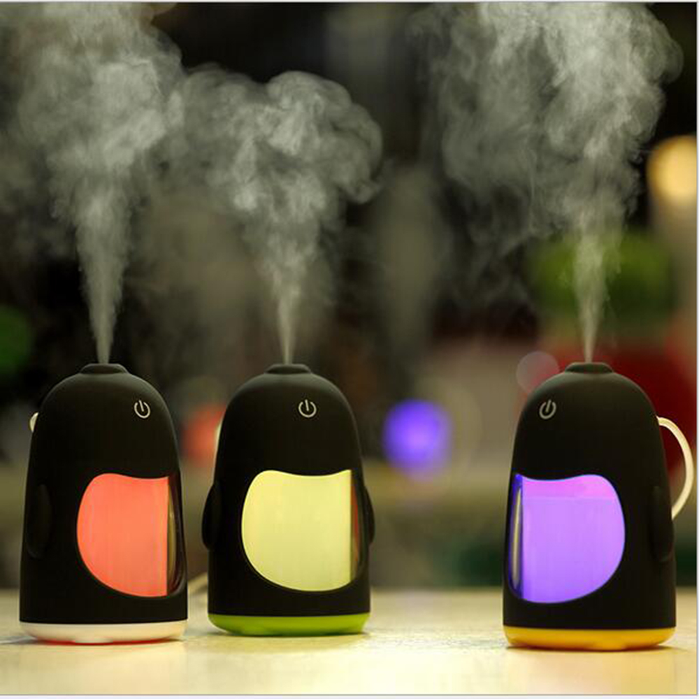 Carroon Penguin Mini USB Air Ultrasonic Humidifier Colorful Night Light Mist Maker Fogger Cartoon Air Purifier Small Nebulizer portable home penguin humidifier mini night light usb humidifier air purifier