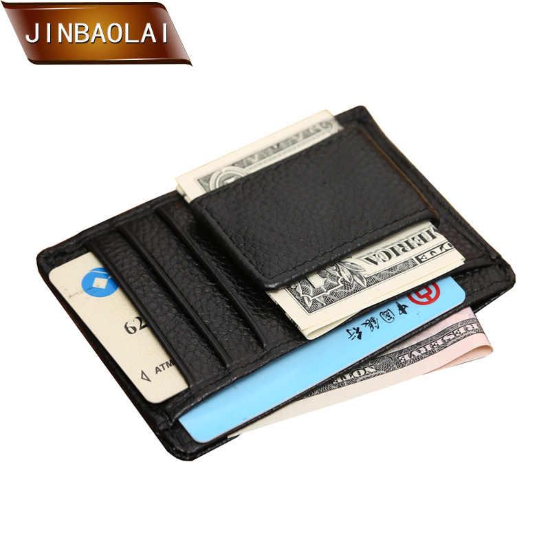 Billeteras JINBAOLAI de piel auténtica para hombre, cartera con pinza de dinero magnética, tarjeteros de identificación, Cartera de viaje y monederos