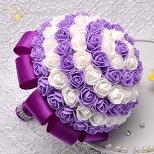 7 цветов 2016 в наличии Свадебные цветы Белый невесты Букет искусственный букет роз WP009