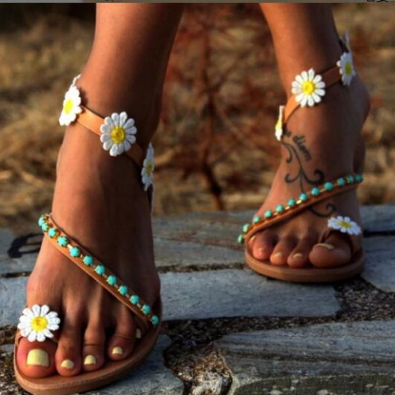 Summer Shoes Woman Gladiator Sandals Women Shoes Flat Fashion Weet Flowers Boho Beach Sandals Ladies Plus Size 44