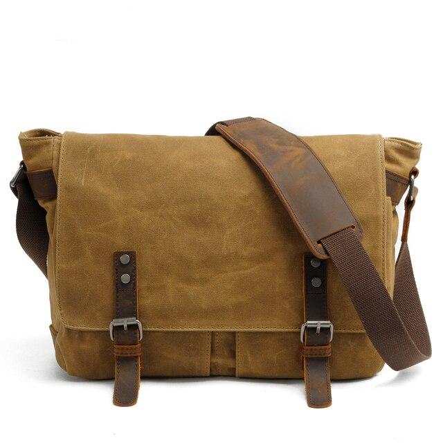Men S Casual Vintage Canvas Cowhide Rucksack Messenger Bag School Crossbody Shoulder Briefcase