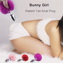 7 Colors Rabbit Tail Anal Plug Toys  Bunny Girl Sex Butt Stainless Steel Bdsm Cosplay For Woman Couples