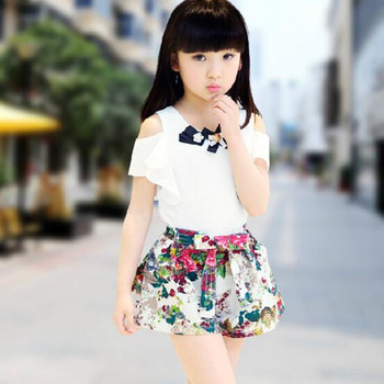 2017 Girls Clothing Sets Kids Summer Baby Girl Clothes Off Shoulder Short Sleeve Ruffles Tops+Print Short Pant 2Pcs Suit JW1333