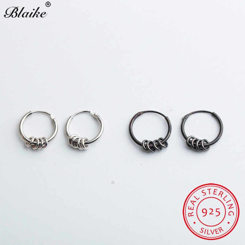 Blaike ミニマリストのための 925 スターリングシルバーフープイヤリング黒小円イヤリング男性女性毎日のジュエリー