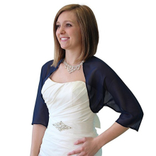 Custom Made Bridal Jacket Half Sleeve Chiffon High Quality Bolero Shrug for Bride Navy Blue Shrug Cardigan