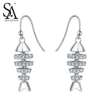 SA SILVERAGE Earrings 925 Sterling Silver For Women Fish Bone Drop Earrings Pure Silver Jewelry Women