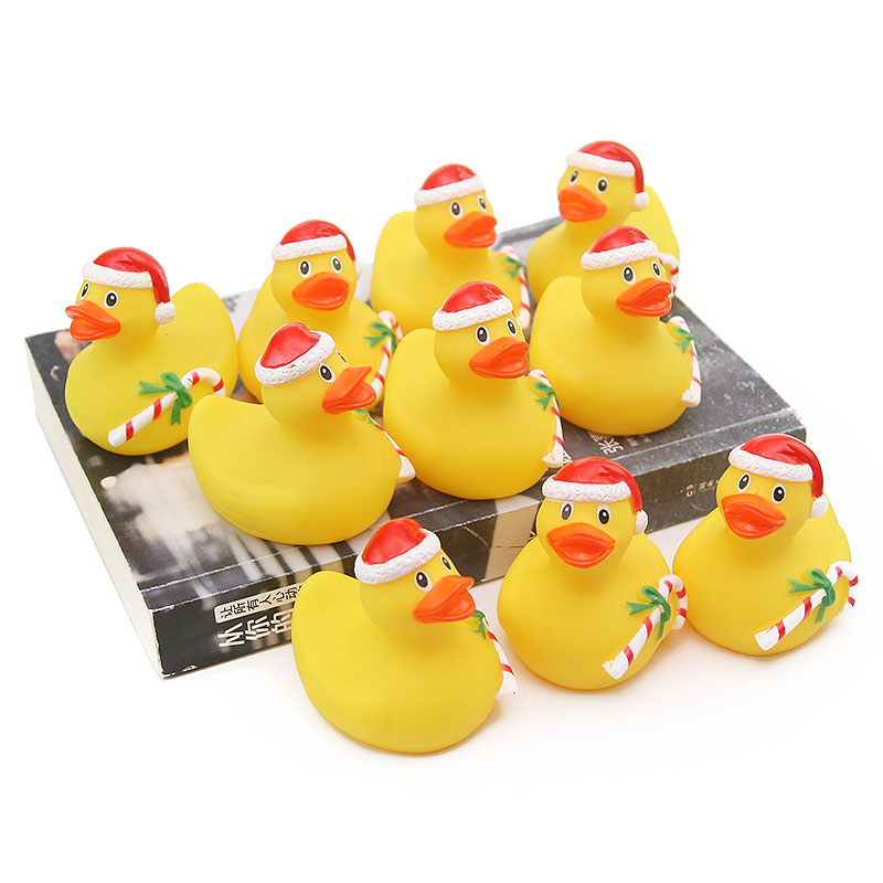 10pcs rubber green Christmas style ducks baby bath water toy bathroom swimming water floating children 39 s gift collection toys in Bath Toy from Toys amp Hobbies