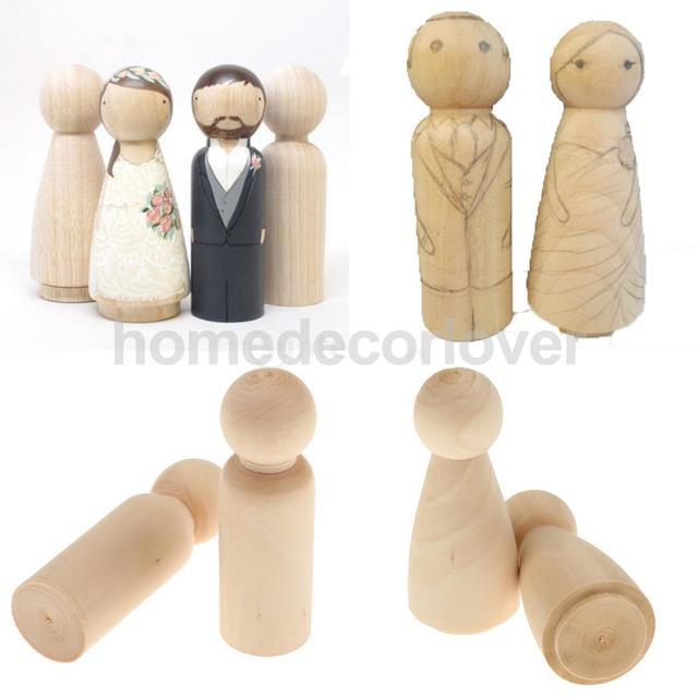 10pcs Bride Groom Plain Blank Wooden Peg Dolls Figures Wedding Cake Toppers DIY Craft Decoration