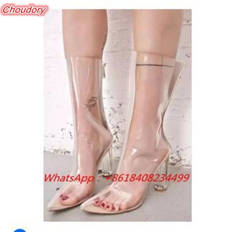 Perspex Heel PVC font b Women b font Med Calf Boots High Heels font b Shoe