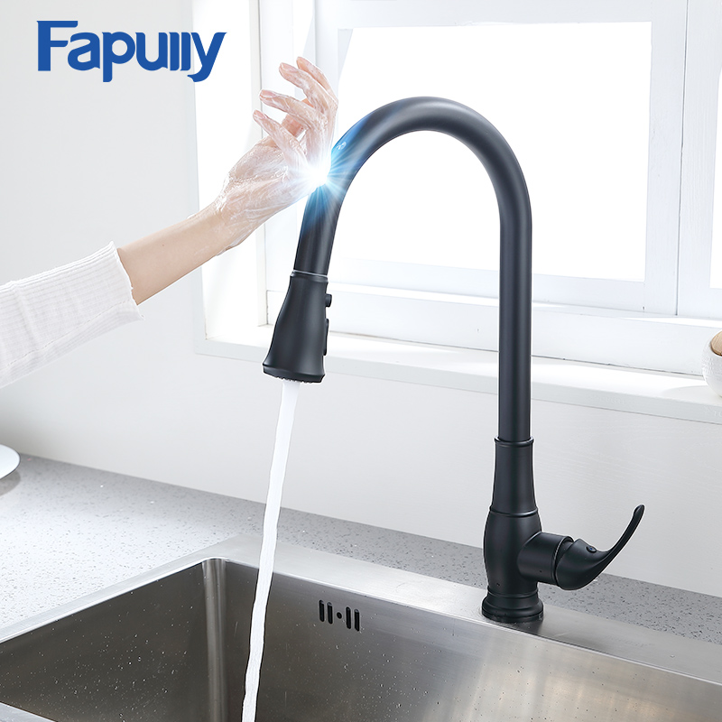 Fapully Matte Black Smart Touch Control Kitchen Faucet Pull Down Sink Tap Touch Induction Faucet Sensitive Mixer Crane CP1051