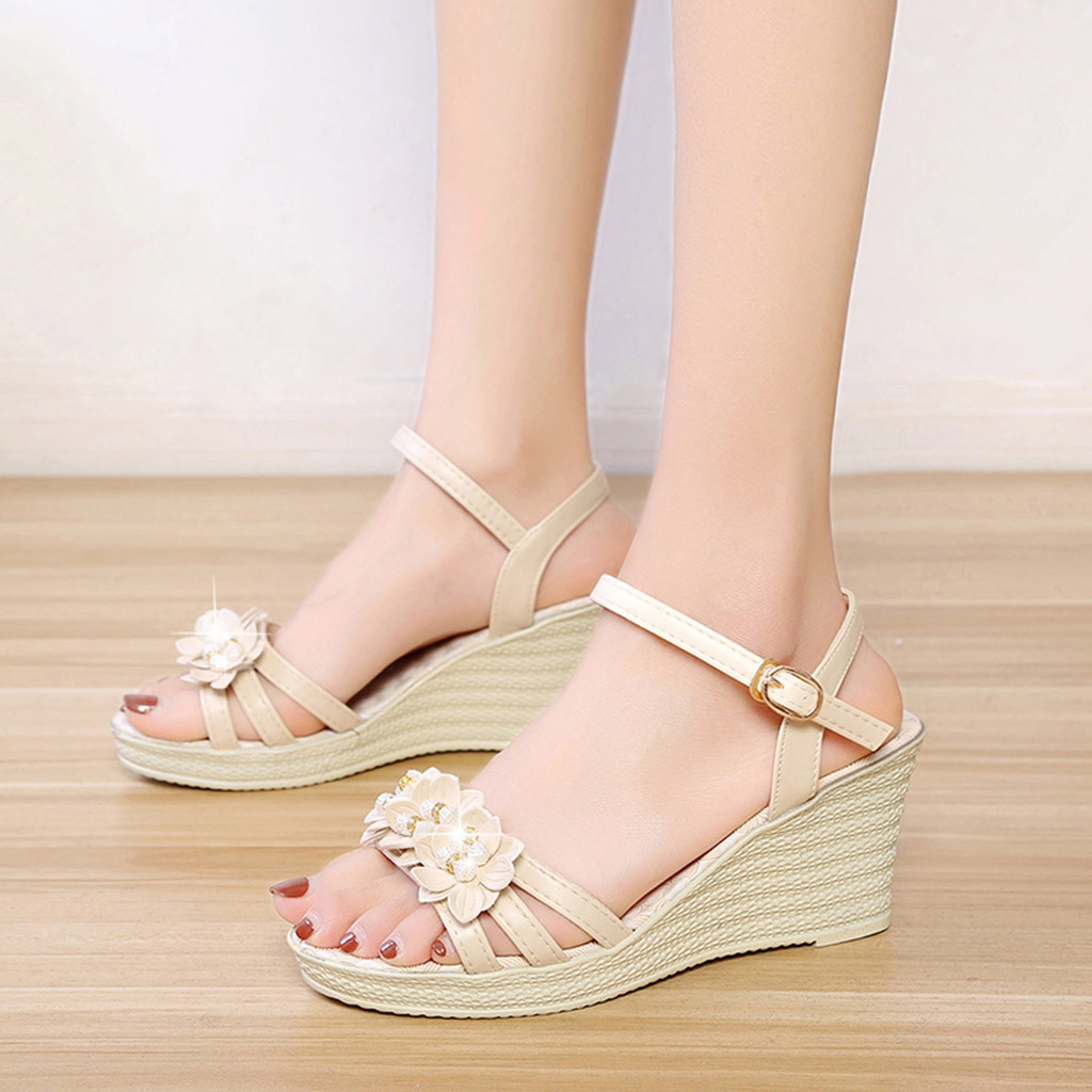 SAGACE Wedges Sandal Shoes Loafers Flower Crystal Casual Fashion Ladies Solid