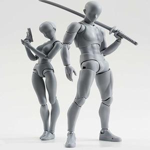 Image 2 - 14cm 남성 여성 움직일 수있는 몸 chan 합동 액션 피규어 장난감 아티스트 아트 페인팅 애니메이션 모델 SHF 마네킹 bjd 아트 스케치 그리기