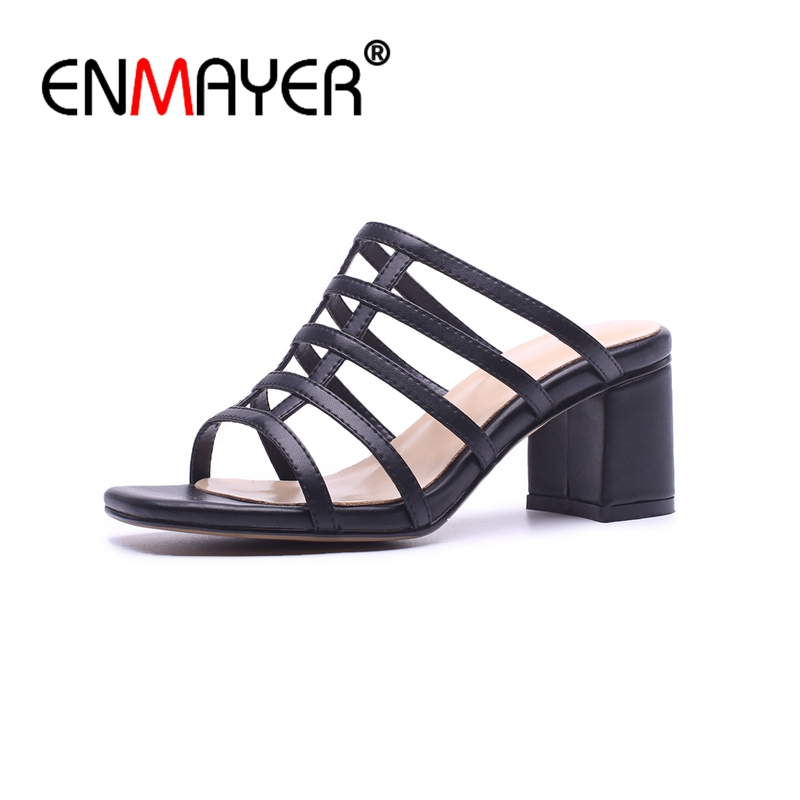 ENMAYER Woman High Heels Sandals Summer Sandals Square Toe Causal Shoes Women Metal Decoration Thick heels Genuine Leather CR730