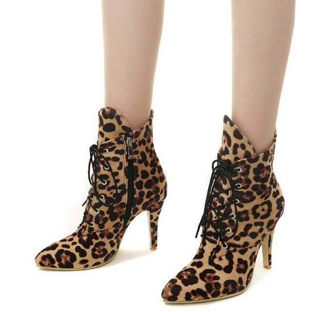 Женские зимние пикантные Ботильоны на молнии с леопардовым принтом на шнуровке, женские туфли из флока на тонком высоком каблуке с острым носком, женские туфли-лодочки больших размеров