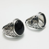 Oval Black Onyx Stone Solid Silver 925 Rings Men 100 Real 925 Sterling Silver Vintage Natural