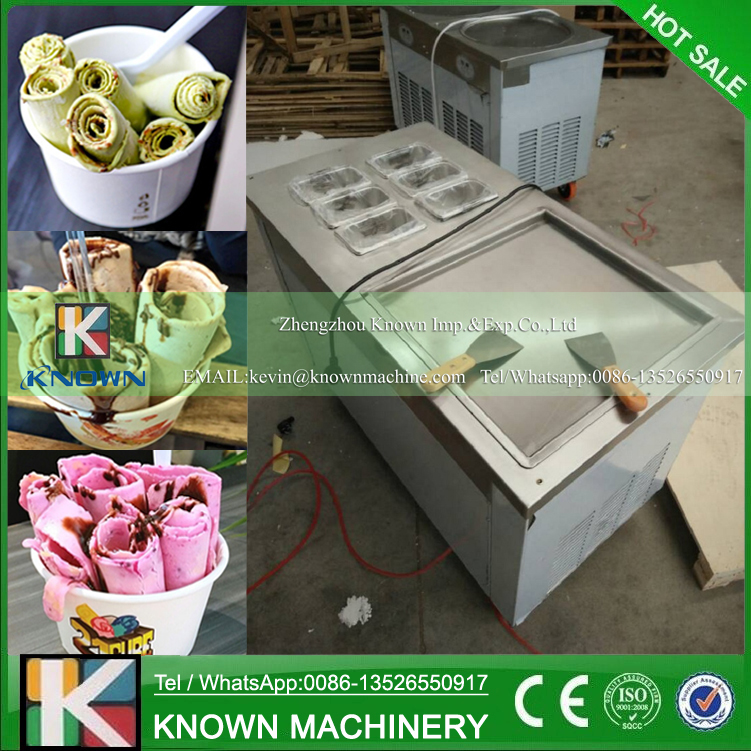 Free Shipping To Russia! Single Square Ice Pan Of Ice Cream Roll Maker / Fried Ice Pan Machine With Environmental Refrigerant