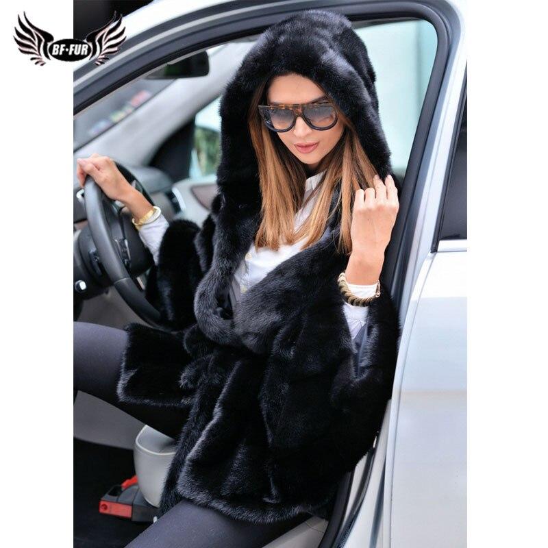 Nouveau Amis Vêtements Cadeaux Complet Pelt Manteaux Mince Vison Manteau Bffur Réel Hiver Fourrure Pour La Solide Black De 2018 Vente Plus Femmes Mode Taille Capuchon kiuOPZX