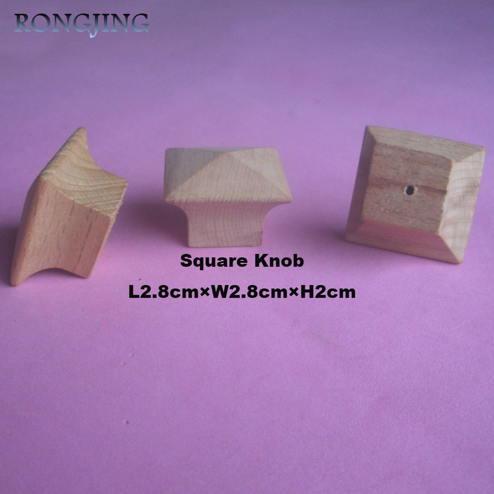5 10 25 Cabinet Pull Square Drawer Handles Kitchen: 10x Square Wooden Kitchen Cabinet Drawer Knobs 28mm