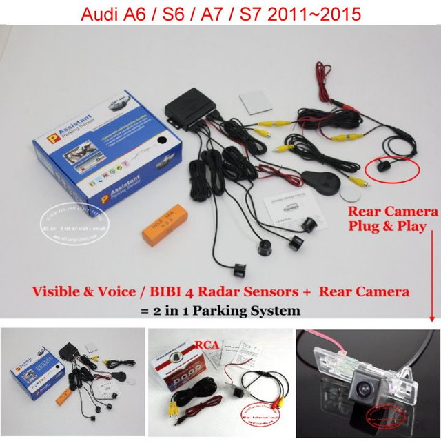 For Audi A6 / S6 /A7 /S7 2011~2015 - Car Parking Sensors + Rear View Back Up Camera = 2 in 1 Visual / BIBI Alarm Parking System