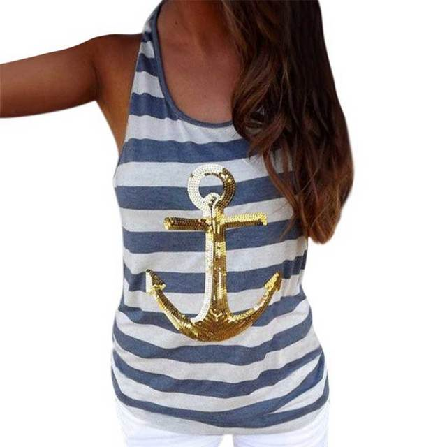 T Shirts Women Fashion 2016 New Plus Size Crop Sequin Top Loose O Neck Stripe Ship Anchor Summer Style Short Tops Sexy Casual