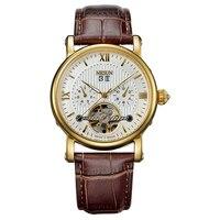Reloj hombre Suiza Nesun esqueleto Tourbillon marca de lujo Auto mecánico hombres Relojes de Cuero Horloges mannon reloj N9503 3|Relojes mecánicos| |  -