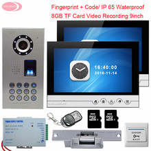 For 2 Apartment Video Door Phone Intercom With Recording +8 GB TF Card IP65 Waterproof Fingerprint Night Vision + Electric Lock