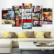 5 Panel GTA Game Canvas Posters Printed Painting For Living Room Wall Art Decor HD Picture Artworks Modern Decorative Poster