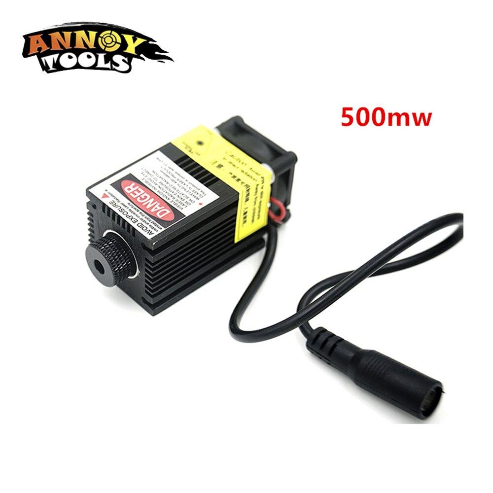 500 mW 405NM mise au point Réglable bleu lumière violette laser module accessoire 12 V haute puissance laser tête pour bricolage machine de gravure laser