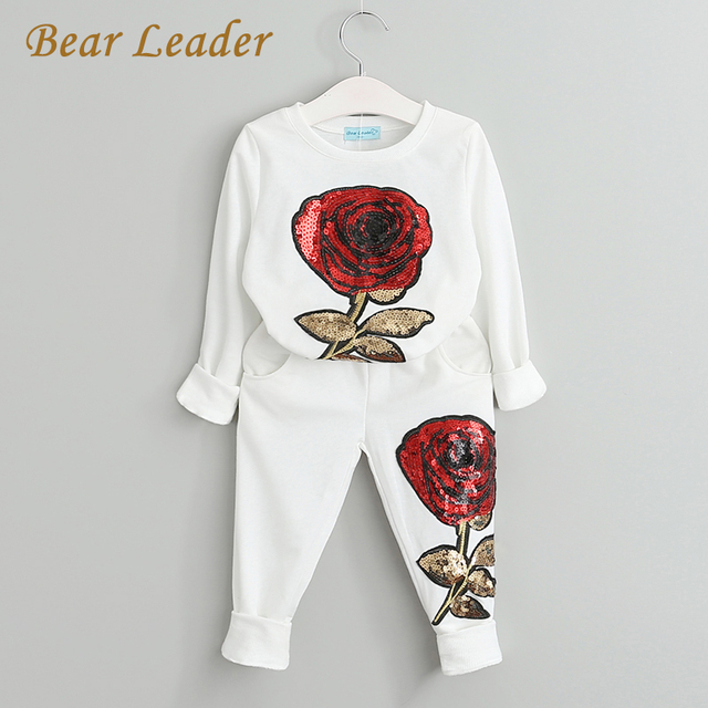 Bear Leader Girls Clothing Sets 2017 Autumn Wool Sportswear Long Sleeve Rose Floral Embroidered Sequinsets Kids Clothing Sets