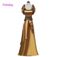 Fishday Bridesmaid Dresses Burgundy Satin Gold Long Plus Size Elegant Formal Party for Women Mother of Bride With Jacket E20