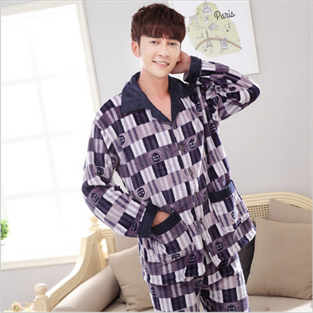 Men fashion pajamas lapel Long sleeves lattice Classic style Flannel V-neck Set Winter warmth Home clothing