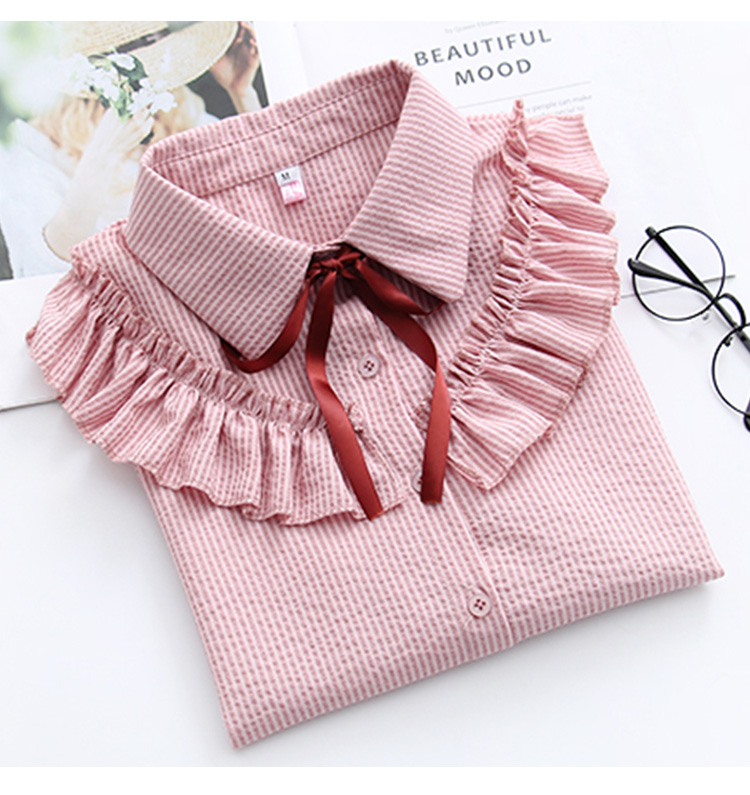 Ruffles Striped Bow Flare Long Sleeve Chiffon Blouse Shirt 5