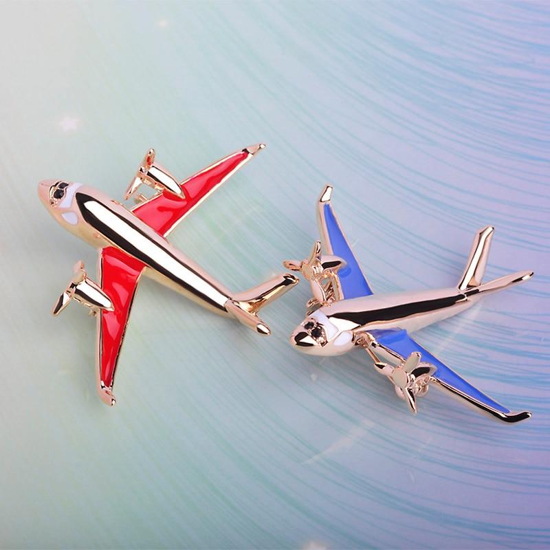 Bulk Sale Airplane Shape Brooches For Women Men Enamel