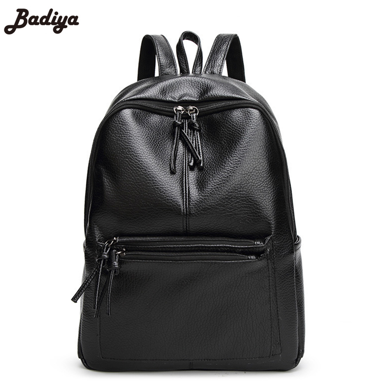2017 New Women Portfolio Leather Handbags Solid Zipper Mochila Escolar Feminina School Bag for Laptop Ladies Sac Travel Backpack
