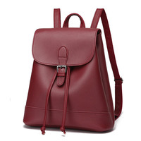 2017 New Arrival Bags For Woman Concise Leisure Fashion Korean Style Backpacks Solid Color Wine Red