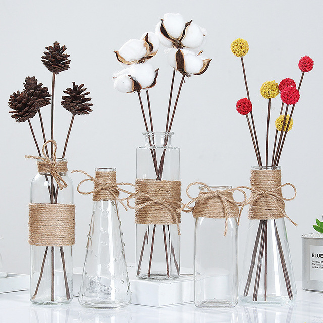 Creative Nordic Glass Vases Living Room Table Decoration Transparent Water Hydroponics Flower Rope Dry Flower Vase  sc 1 st  AliExpress & Creative Nordic Glass Vases Living Room Table Decoration Transparent ...