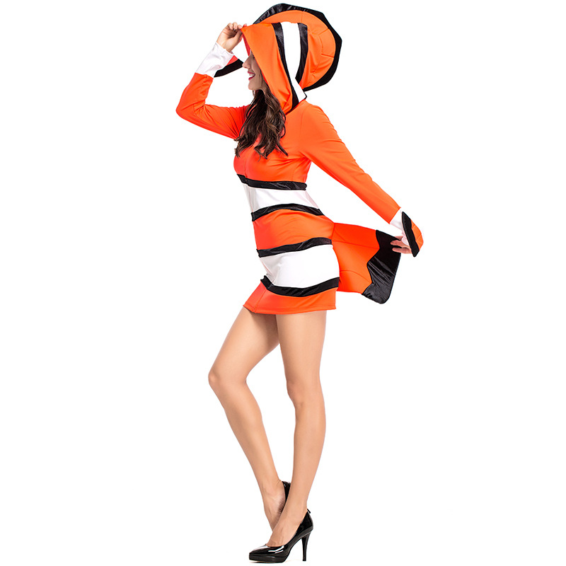 Best Selling Sexy Woman Cozy Orange Clown Fish Under The Sea Finding Nemo Cartoon Movie Character Cosplay Halloween Costume image