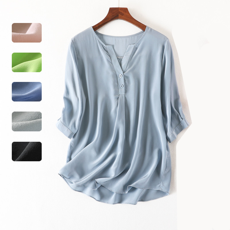 Women Summer 100% Natural Silk Blouse Real Silk Half Sleeve Basic Shirt OL Solid Multi color Top Shirts Silk Blouses for Women